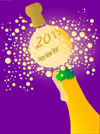 Champagne bottle being opened with froth and bubbles with a large bubble exclaiming 2013 Happy New Year Illustration