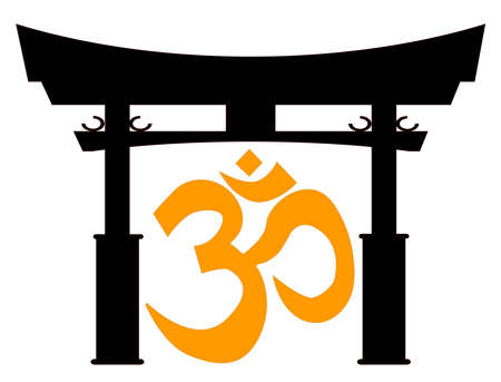 A typical Japanese Tori gate silhouette over white with the om symbol Vector