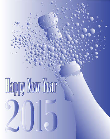 New Year champagne bottle being opened with froth and bubbles. Vector