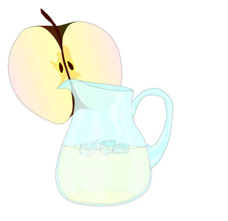 cordial: A pitcher of apple juice with a slice of apple