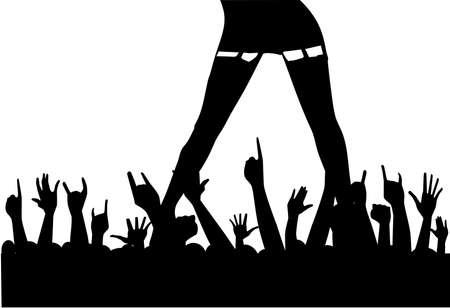 female stripper: A female artist entertaining an enthusiastic audience