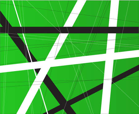 criss cross: A green background with black and white criss cross items. Illustration