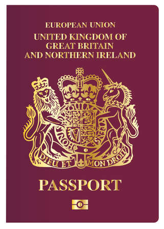 pass: The front cover of a new british passport