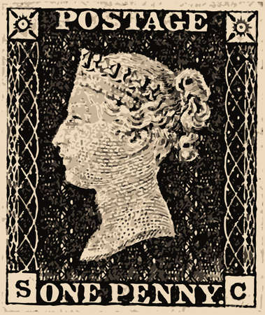 A typical victorian penny black british stamp