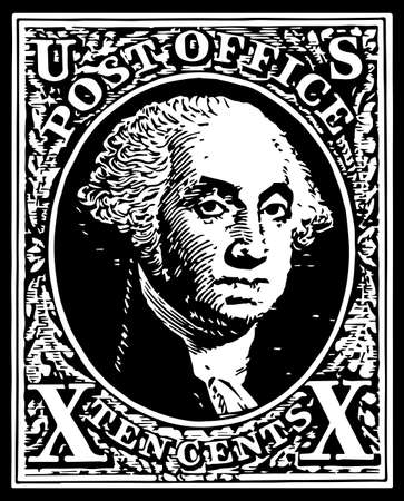 united states postal service: One of the first United States of America stamp the Black Washington 10 cent stamp