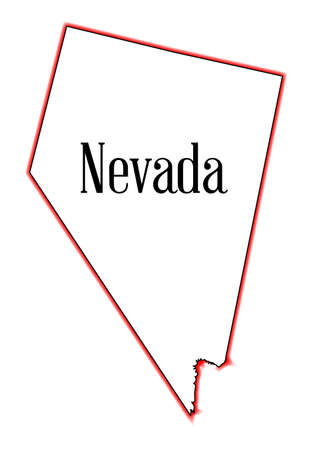 An outline map of the state of Nevada over a white background