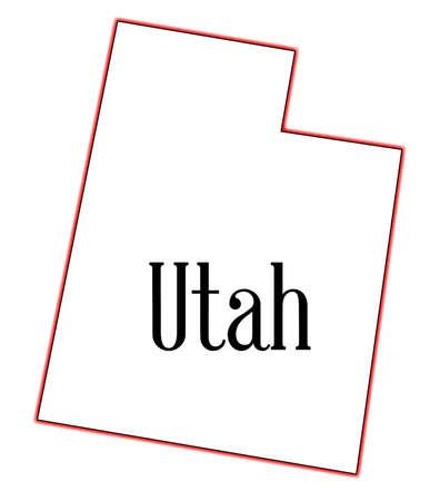 白い背景の上には、ユタ州の状態の概略図