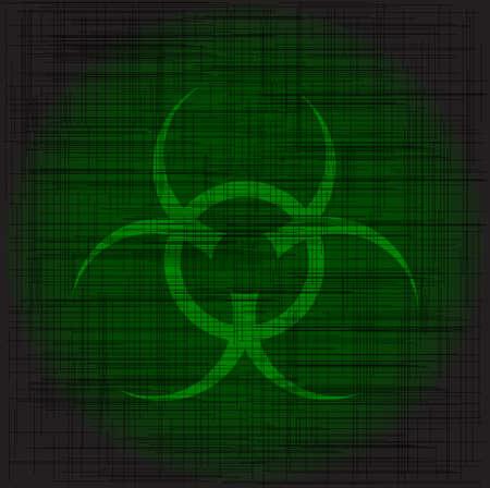 environmental hazard: Bio hazard sign with a heavy green grunge Illustration