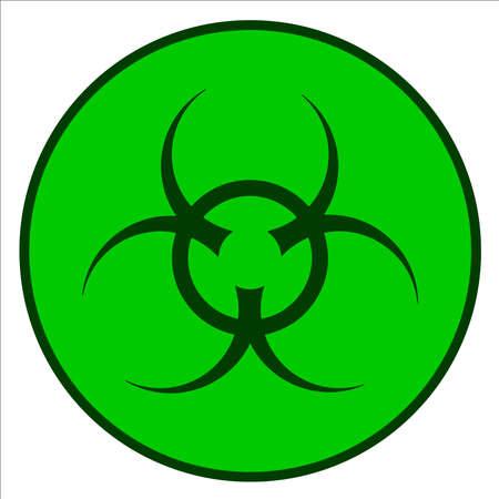 biohazard symbol: A bio-hazard symbol in green against a white background Illustration