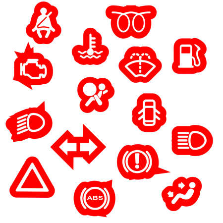 A collection of automobile dash warning light symbols Vector
