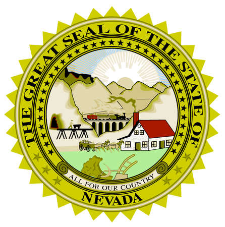 great seal: The great seal of Nevada over a white background Illustration