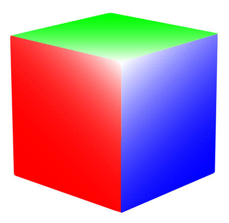 A cube with the 3 primary colours RED Green and Blue Vector