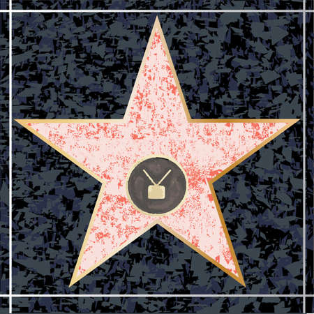 walk of fame: A depiction of a blank Hollywood TV star walk of fame plaque