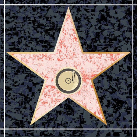 walk of fame: A depiction of a blank musical star walk of fame plaque Illustration