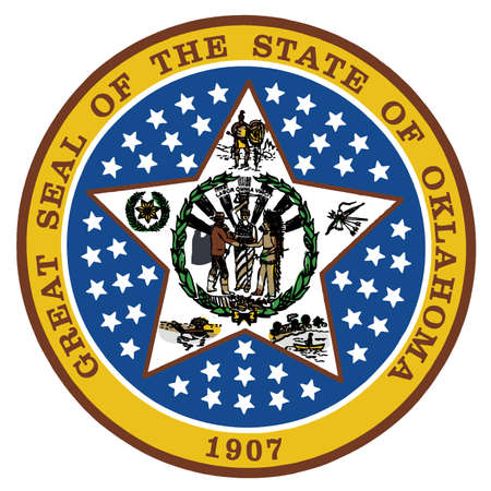 The state seal of the state of Oklahoma over a white background Ilustração