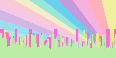 background image: Un paisaje urbano ma�ana brillante muestra como imagen de fondo Vectores