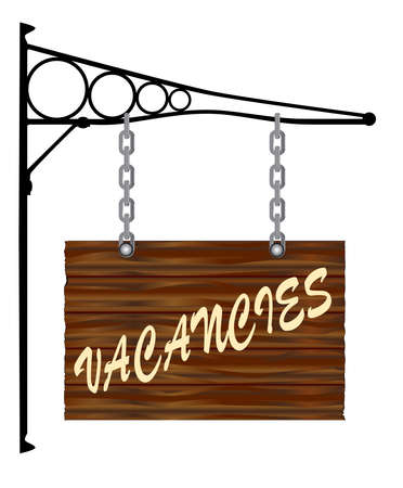 bracket: A rectangle wooden sign hanging from a wall bracket with the word VACANCIES