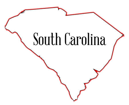 Outline map of the state of South Carolina Illustration