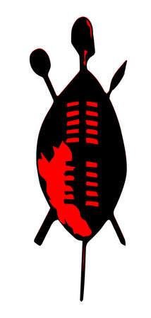 전형적인 줄 루어 방패와 흰색 배경 위에 무기