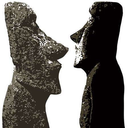 moai: Stone heads as found on Easter Island isolated over white