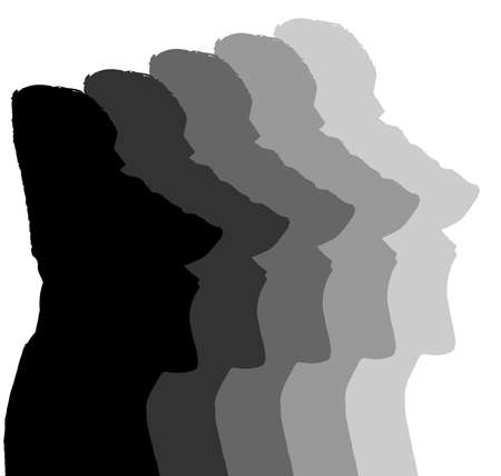 monolithic: Easter Island Monolithic Heads in shades of grey isolated over white Illustration