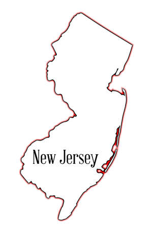 Outline map of the state of New Jersey over a white background