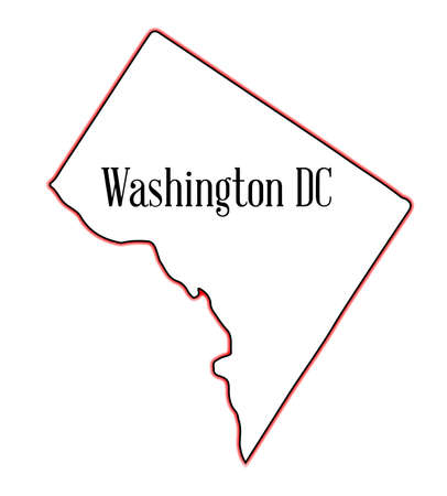 Outline map of the state of Washington DC over a white background Illustration