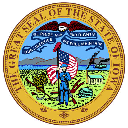 great seal: The great seal of the state of Iowa over a white background Illustration