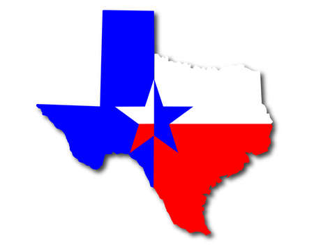 Outline map of Texas in red white and blue with the lone star motif