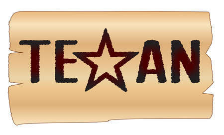 branded: The word TEXAn with the lone star branded onto wood Illustration