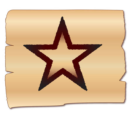 branded: A brand of the Texas star on a wood background