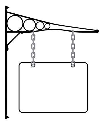 bracket: A rectangular blank sign hanging from a wall bracket with copy space