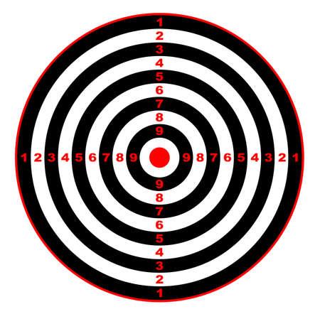 bull's eye: A rifle or pistol bulls eye target over a white background Illustration
