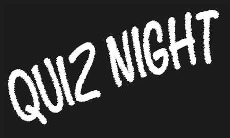 kwis: Een versleten oude schoolbord met krijt tekst QUIZ NIGHT Stock Illustratie