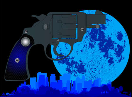 45 gun: A cityscape with a large full moon glowing and a snub nose 45 in the foreground