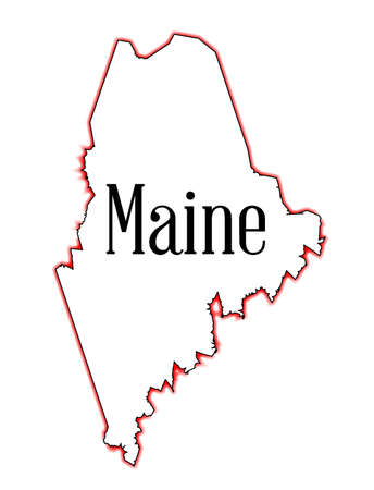 maine: Outline map of the state of Maine over white