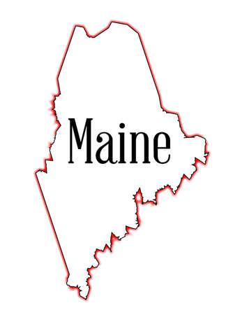 Schema mappa dello stato del Maine su bianco Archivio Fotografico - 32348873