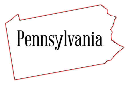 Outline map of the state of Pennsylvania Illustration