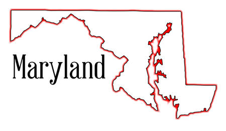 Outline map of the state of Maryland Illustration