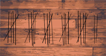 tally: Wood boards with several Tally marks engraved