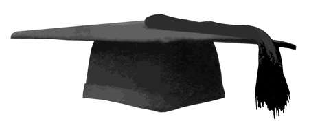 A mortarboard students cap over a white background