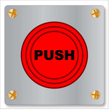The big red emergency only button on a white background Vector