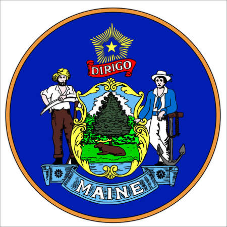maine: Maine state seal over a white background Illustration