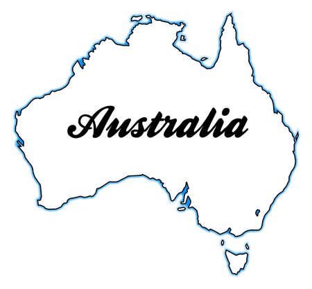 Outline map of Australia over a white background