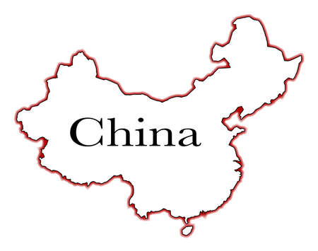 Outline Map Of China Over A White Background Royalty Free Cliparts
