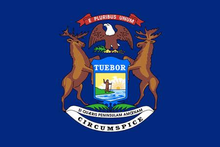 미국 미시간 주의 국기 일러스트