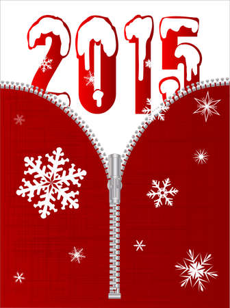 unzipped: A typical zipper on grungy red cloth with 2015 Illustration