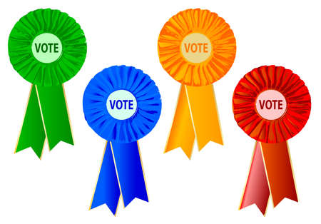 rosettes: 4 different coloured political rosettes over a white background