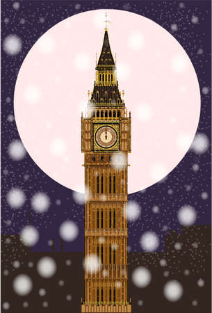 bell tower: The London landmark Big Ben Clocktower at miidnight by a full moon and snowflakes