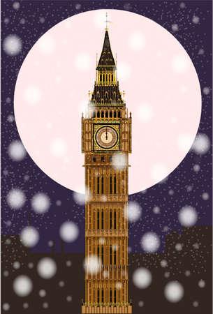 london night: The London landmark Big Ben Clocktower at miidnight by a full moon and snowflakes